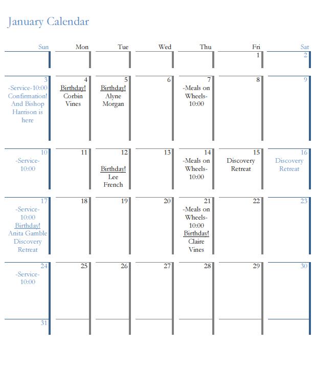 St Bart's January 2016 Calendar
