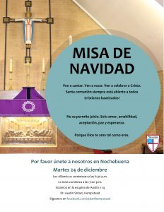 Misa de Navidad flyer and invitation